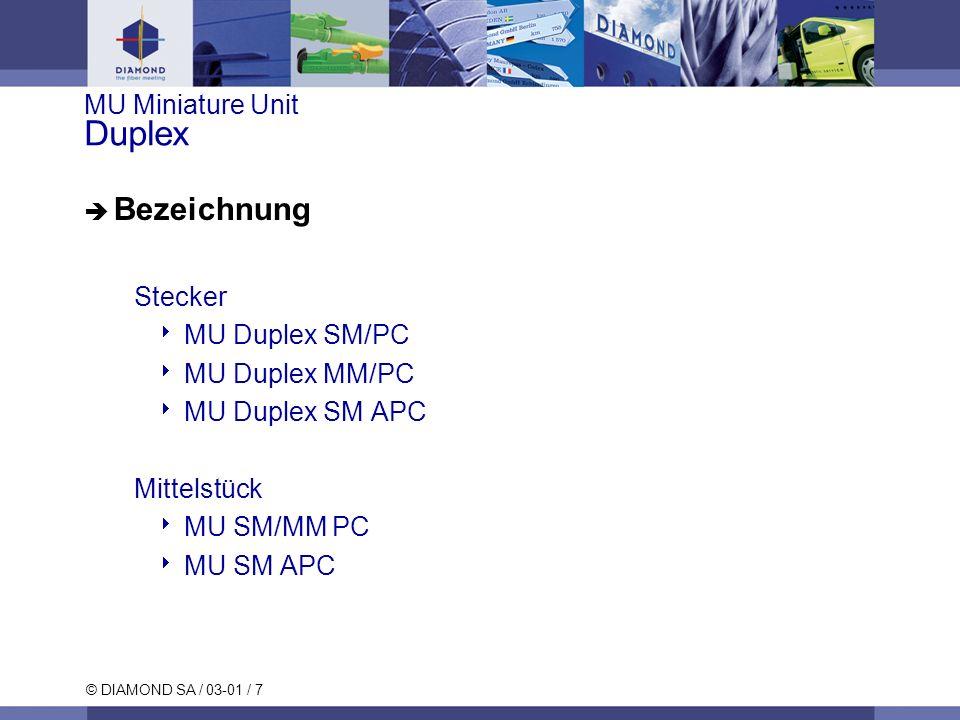 © DIAMOND SA / 03-01 / 7 MU Miniature Unit Duplex Bezeichnung Stecker MU Duplex SM/PC MU Duplex MM/PC MU Duplex SM APC Mittelstück MU SM/MM PC MU SM A