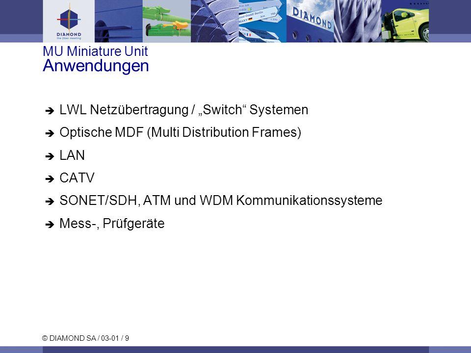 © DIAMOND SA / 03-01 / 10 MU Miniature Unit Merkmale und Vorteile Hohe Packungsdichte und extrem leichter Aufbau Ausgezeichnete optische Eigenschaften (SM & MM) Aktive Kernzentrierung Breiter Anwendungsbereich Einfache Handhabung (push-pull)
