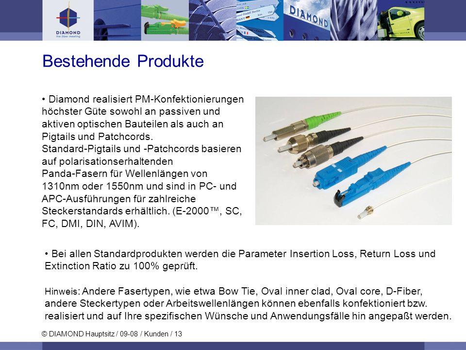 © DIAMOND Hauptsitz / 09-08 / Kunden / 13 Bestehende Produkte Diamond realisiert PM-Konfektionierungen höchster Güte sowohl an passiven und aktiven op