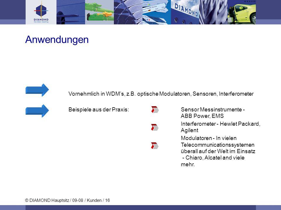 © DIAMOND Hauptsitz / 09-08 / Kunden / 16 Vornehmlich in WDMs, z.B. optische Modulatoren, Sensoren, Interferometer Beispiele aus der Praxis: Sensor Me