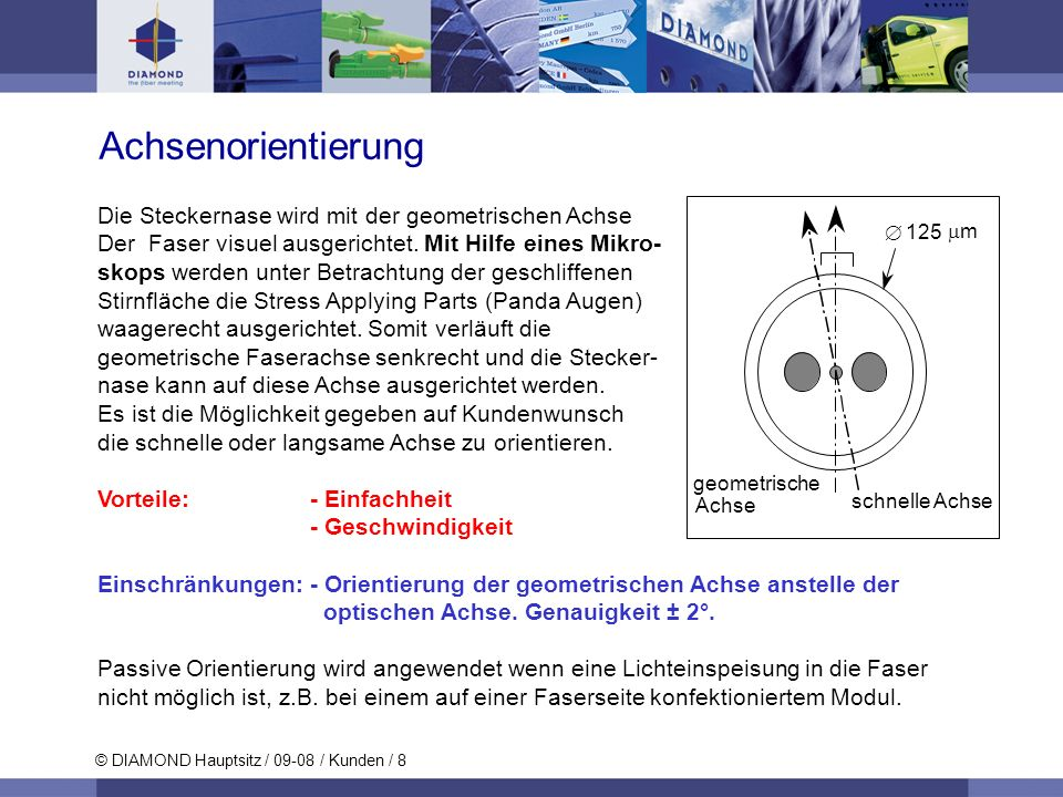 © DIAMOND Hauptsitz / 09-08 / Kunden / 8 Achsenorientierung Die Steckernase wird mit der geometrischen Achse Der Faser visuel ausgerichtet. Mit Hilfe