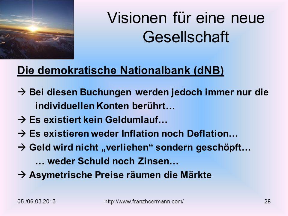 Die demokratische Nationalbank (dNB) Bei diesen Buchungen werden jedoch immer nur die individuellen Konten berührt… Es existiert kein Geldumlauf… Es e