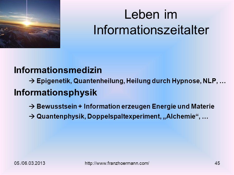 Informationsmedizin Epigenetik, Quantenheilung, Heilung durch Hypnose, NLP, … Informationsphysik Bewusstsein + Information erzeugen Energie und Materi
