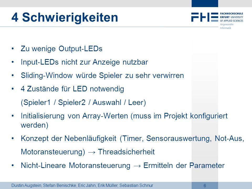 Dustin Augstein, Stefan Benischke, Eric Jahn, Erik Müller, Sebastian Schnur 6 4 Schwierigkeiten Zu wenige Output-LEDs Input-LEDs nicht zur Anzeige nut