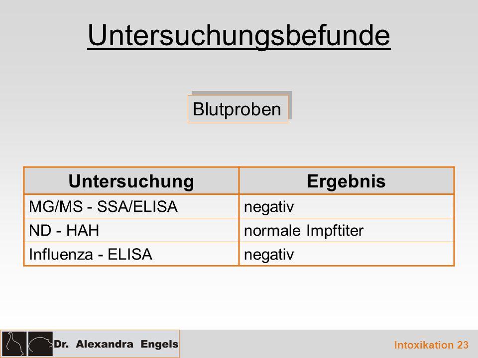 Untersuchungsbefunde Blutproben UntersuchungErgebnis MG/MS - SSA/ELISAnegativ ND - HAHnormale Impftiter Influenza - ELISAnegativ Intoxikation 23