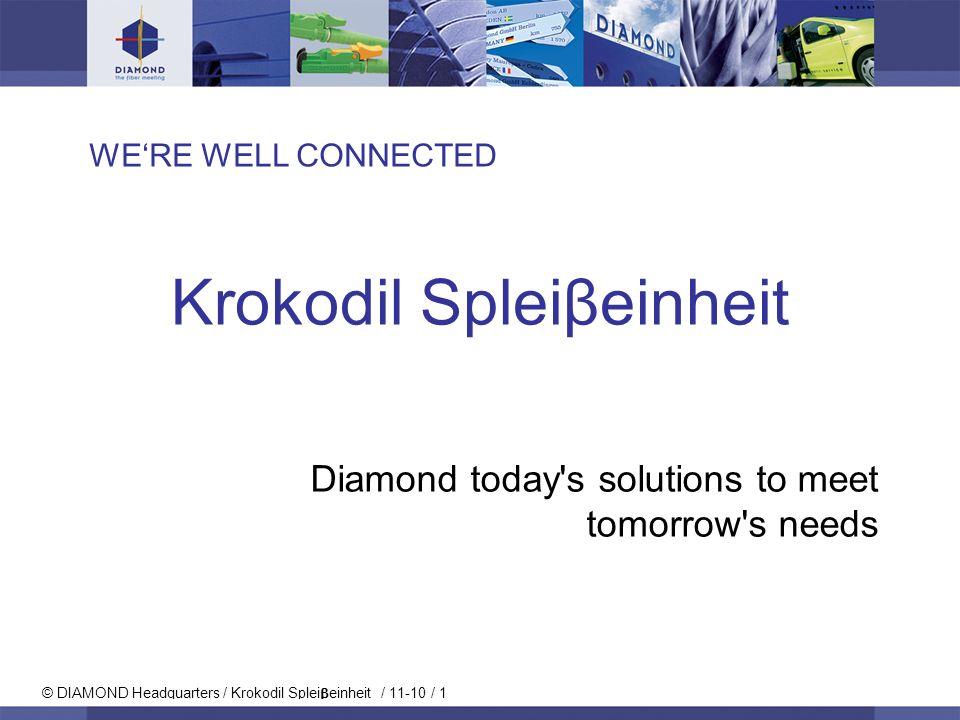 © DIAMOND Headquarters / Krokodil Splei einheit / 11-10 / 1 WERE WELL CONNECTED Krokodil Spleiβeinheit Diamond today's solutions to meet tomorrow's ne
