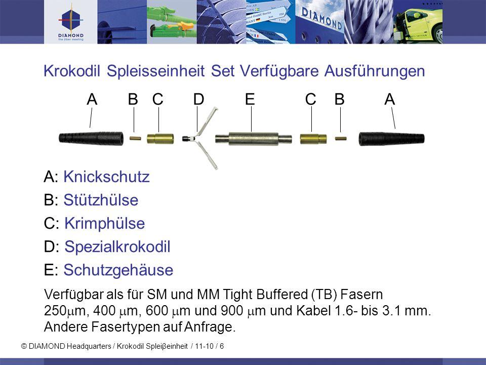 © DIAMOND Headquarters / Krokodil Spleiβeinheit / 11-10 / 6 Krokodil Spleisseinheit Set Verfügbare Ausführungen A: Knickschutz B: Stützhülse C: Krimph