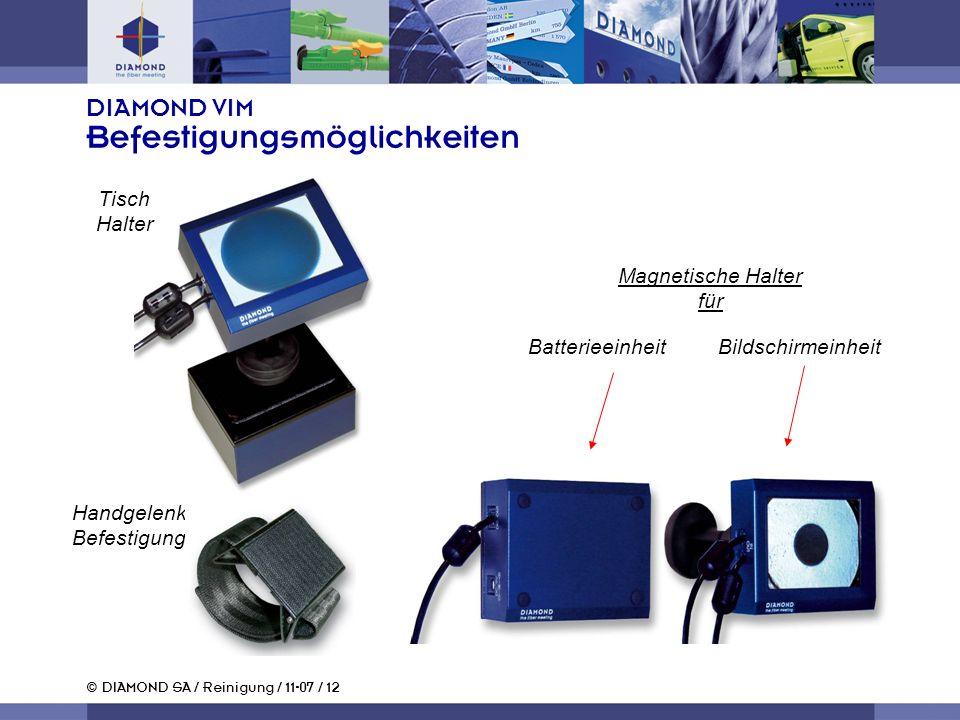 © DIAMOND SA / Reinigung / 11-07 / 12 DIAMOND VIM Befestigungsmöglichkeiten Batterieeinheit Bildschirmeinheit Handgelenk Befestigung Magnetische Halter für Tisch Halter