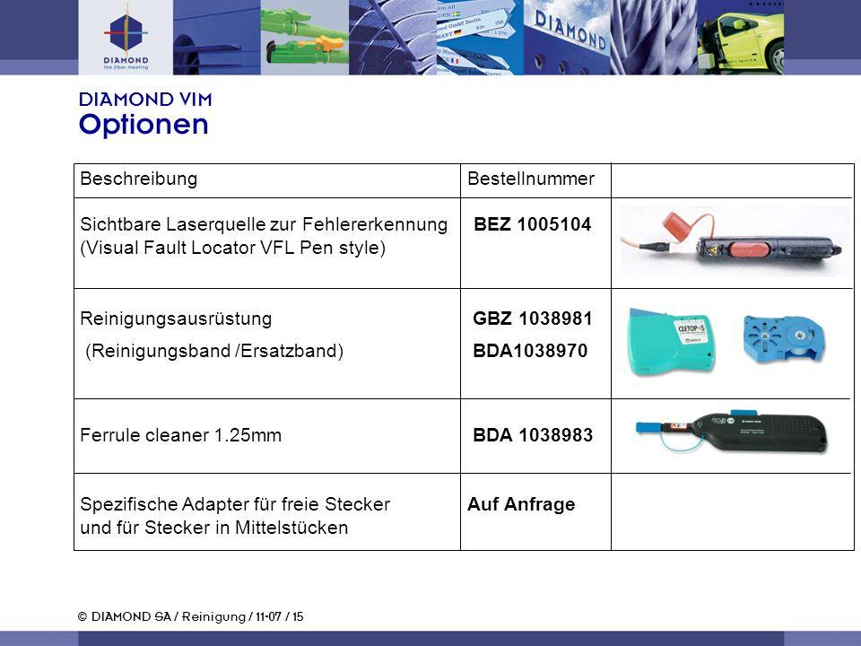 © DIAMOND SA / Reinigung / 11-07 / 15 DIAMOND VIM Optionen Beschreibung Bestellnummer Sichtbare Laserquelle zur Fehlererkennung BEZ 1005104 (Visual Fa
