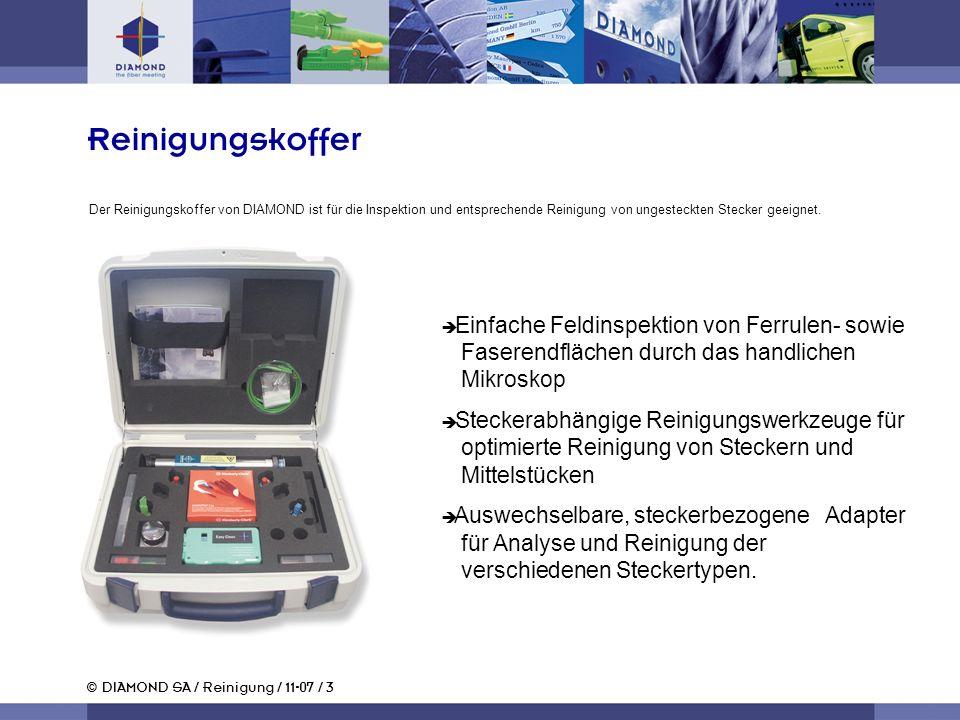 © DIAMOND SA / Reinigung / 11-07 / 3 Einfache Feldinspektion von Ferrulen- sowie Faserendflächen durch das handlichen Mikroskop Steckerabhängige Reini