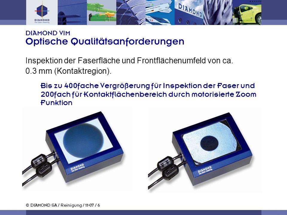 © DIAMOND SA / Reinigung / 11-07 / 6 DIAMOND VIM Optische Qualitätsanforderungen Inspektion der Faserfläche und Frontflächenumfeld von ca. 0.3 mm (Kon