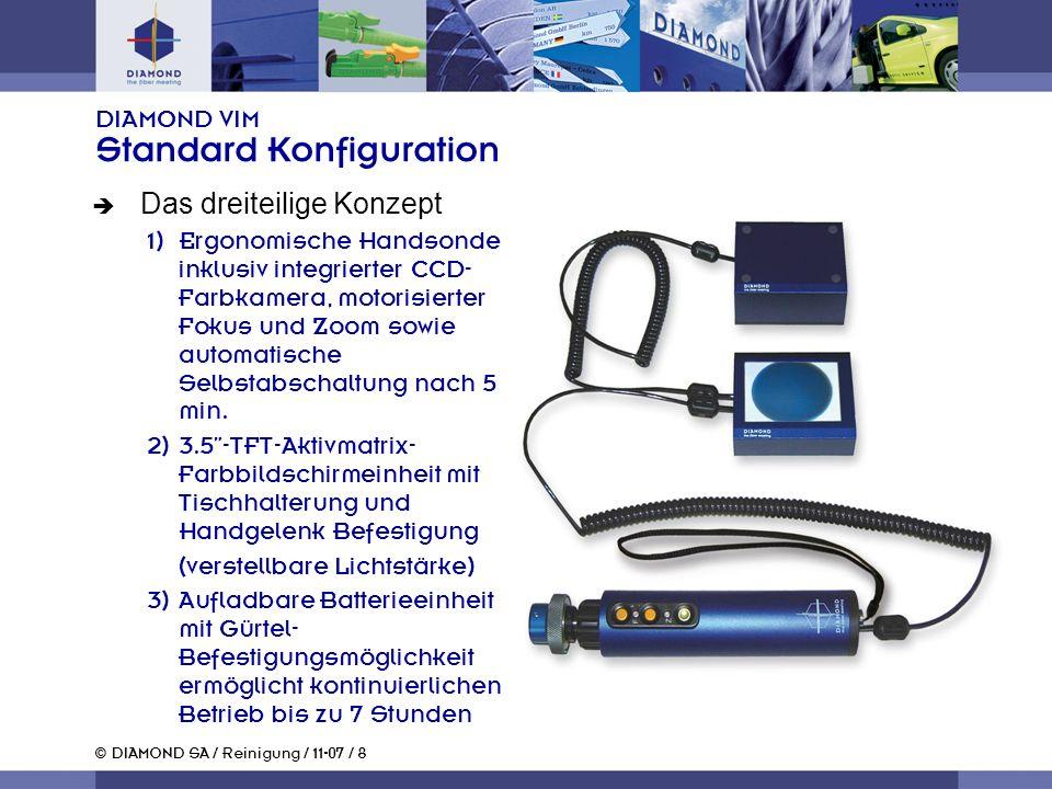 © DIAMOND SA / Reinigung / 11-07 / 8 DIAMOND VIM Standard Konfiguration Das dreiteilige Konzept 1)Ergonomische Handsonde inklusiv integrierter CCD- Farbkamera, motorisierter Fokus und Zoom sowie automatische Selbstabschaltung nach 5 min.