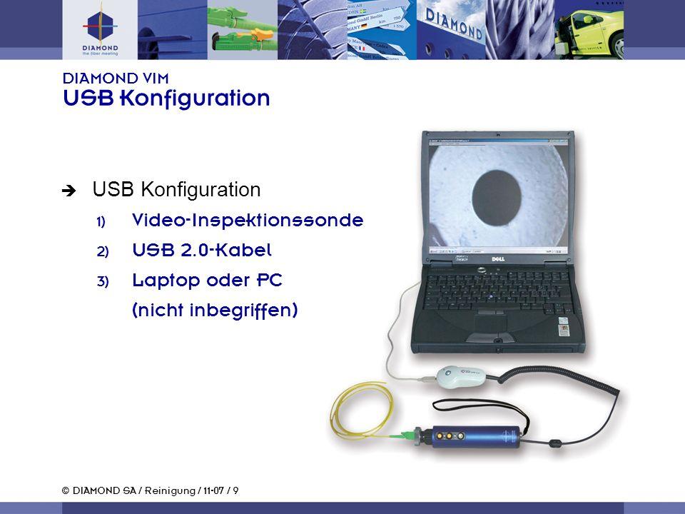 © DIAMOND SA / Reinigung / 11-07 / 9 DIAMOND VIM USB Konfiguration USB Konfiguration Video-Inspektionssonde USB 2.0-Kabel Laptop oder PC (nicht inbegriffen)
