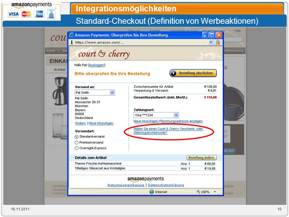 Standard-Checkout (Definition von Werbeaktionen) Integrationsmöglichkeiten 16.11.201110