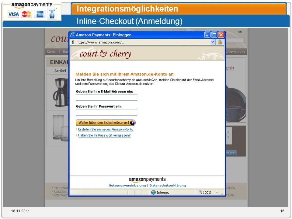 Inline-Checkout (Anmeldung) Integrationsmöglichkeiten 16.11.201116
