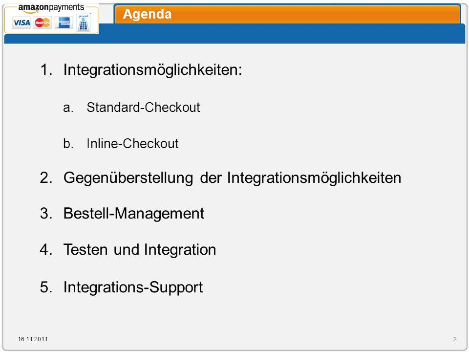Agenda 1. Integrationsmöglichkeiten: a. Standard-Checkout b. Inline-Checkout 2. Gegenüberstellung der Integrationsmöglichkeiten 3. Bestell-Management