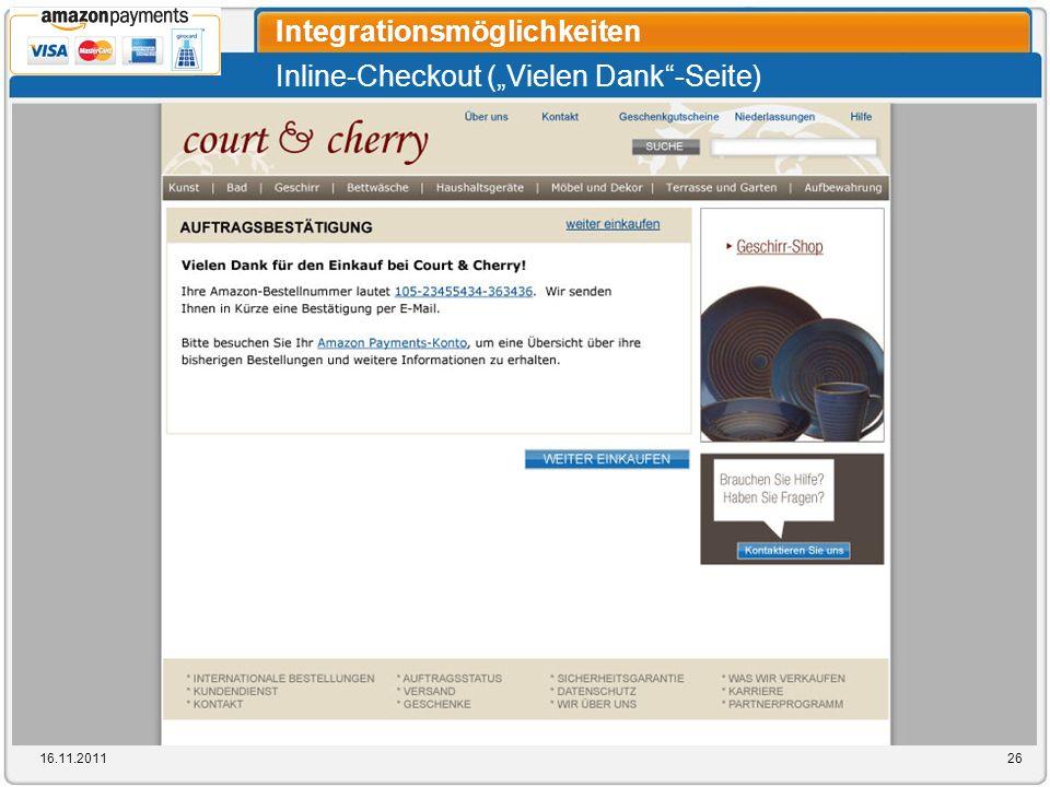 Inline-Checkout (Vielen Dank-Seite) Integrationsmöglichkeiten 16.11.201126