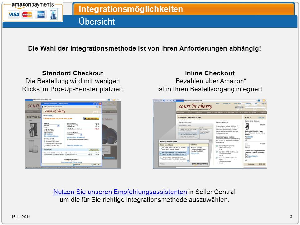 Übersicht Integrationsmöglichkeiten 16.11.20113 Inline Checkout Bezahlen über Amazon ist in Ihren Bestellvorgang integriert Standard Checkout Die Best