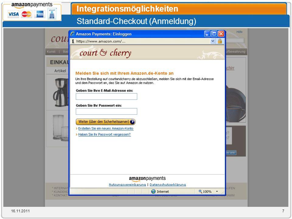 Standard-Checkout (Anmeldung) Integrationsmöglichkeiten 16.11.20117
