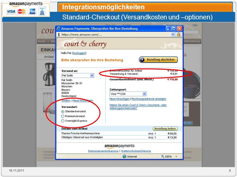 Standard-Checkout (Versandkosten und –optionen) Integrationsmöglichkeiten 16.11.20118
