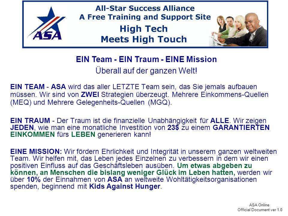 ASA Online Official Document ver 1.0 ASA expandiert derzeit in der ganzen Welt.