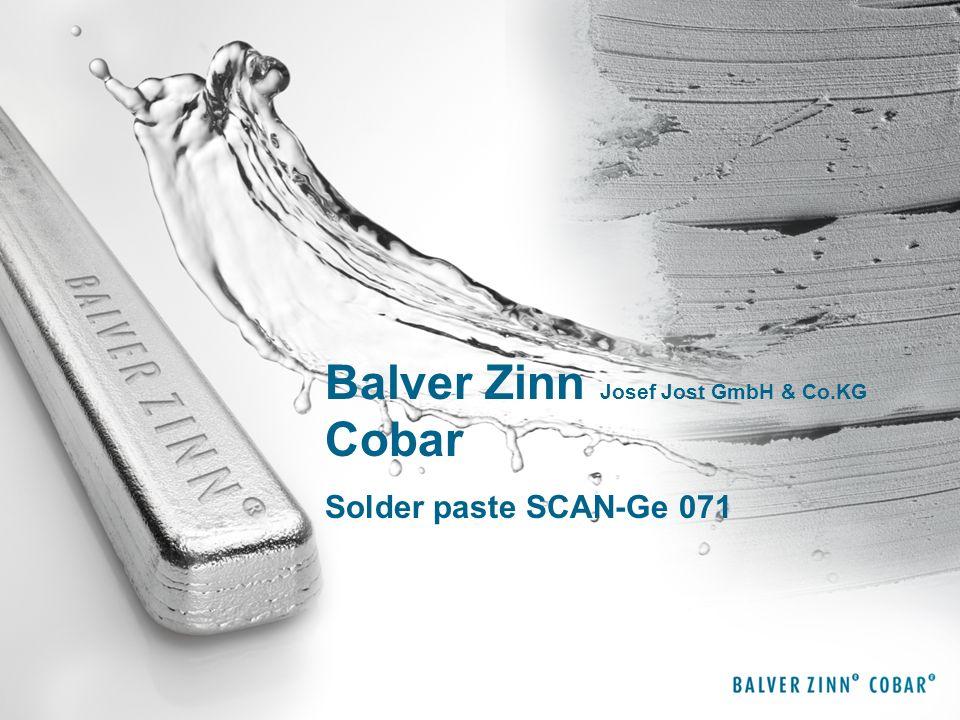 Balver Zinn Josef Jost GmbH & Co.KG Cobar Solder paste SCAN-Ge 071