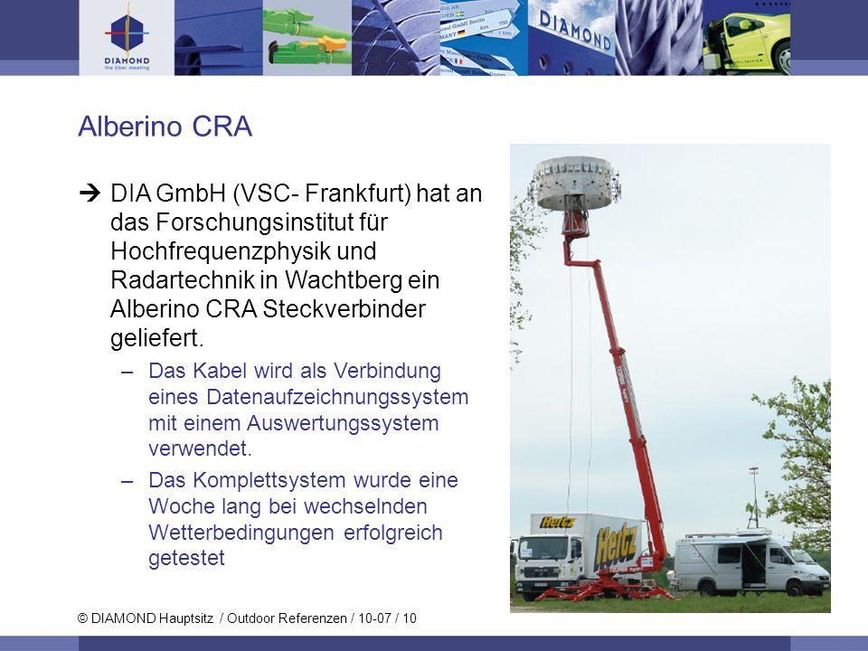 © DIAMOND Hauptsitz / Outdoor Referenzen / 10-07 / 10 Alberino CRA DIA GmbH (VSC- Frankfurt) hat an das Forschungsinstitut für Hochfrequenzphysik und