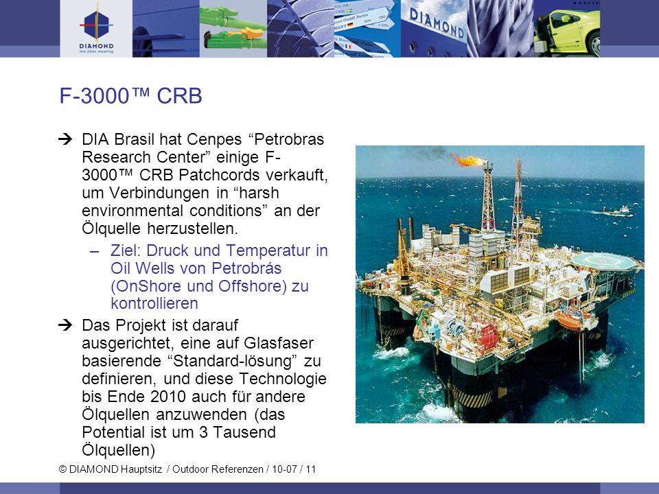 © DIAMOND Hauptsitz / Outdoor Referenzen / 10-07 / 11 F-3000 CRB DIA Brasil hat Cenpes Petrobras Research Center einige F- 3000 CRB Patchcords verkauf