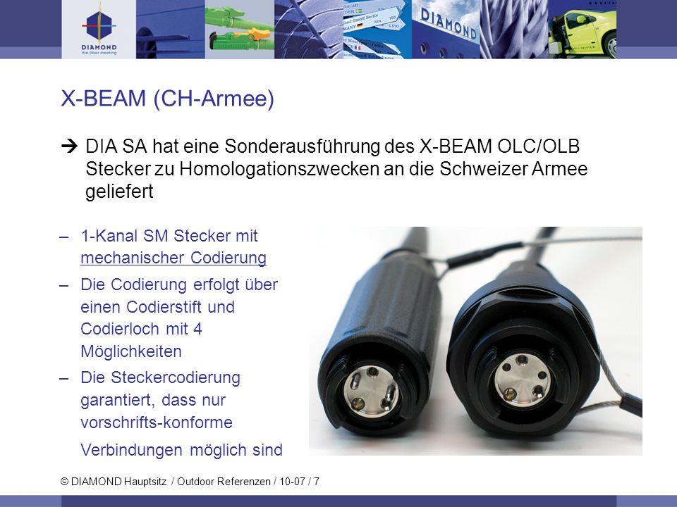 © DIAMOND Hauptsitz / Outdoor Referenzen / 10-07 / 7 X-BEAM (CH-Armee) DIA SA hat eine Sonderausführung des X-BEAM OLC/OLB Stecker zu Homologationszwe