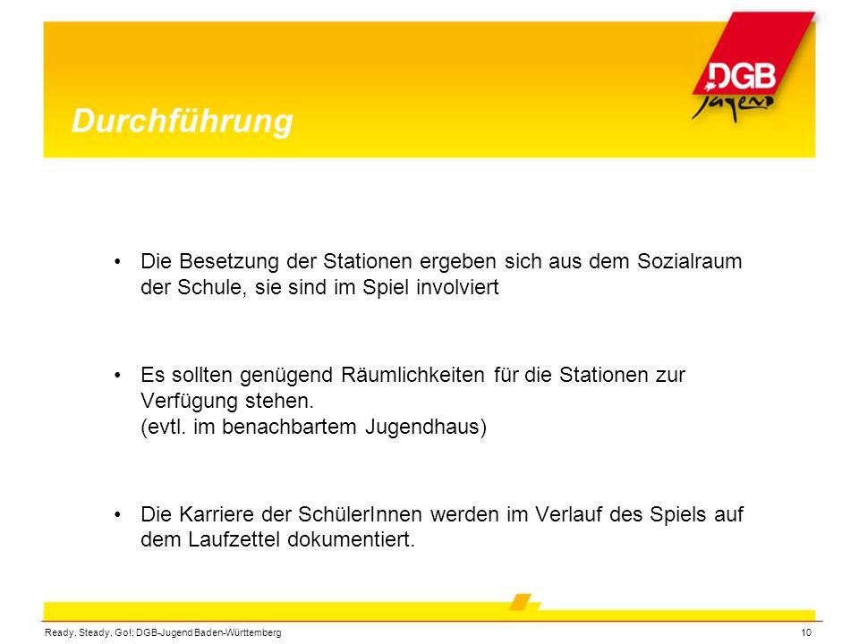 Ready, Steady, Go!; DGB-Jugend Baden-Württemberg10 Durchführung Die Besetzung der Stationen ergeben sich aus dem Sozialraum der Schule, sie sind im Sp
