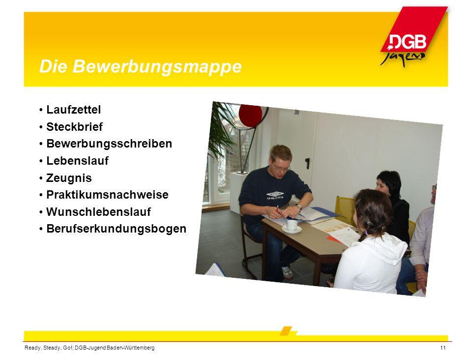 Ready, Steady, Go!; DGB-Jugend Baden-Württemberg11 Die Bewerbungsmappe Laufzettel Steckbrief Bewerbungsschreiben Lebenslauf Zeugnis Praktikumsnachweis