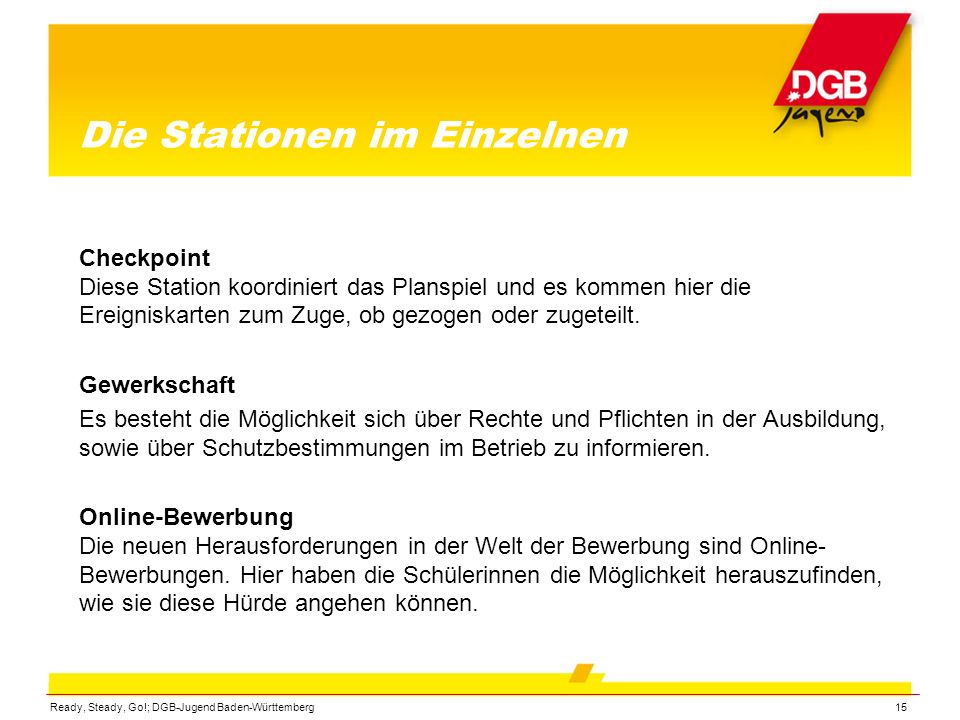 Ready, Steady, Go!; DGB-Jugend Baden-Württemberg15 Die Stationen im Einzelnen Checkpoint Diese Station koordiniert das Planspiel und es kommen hier di