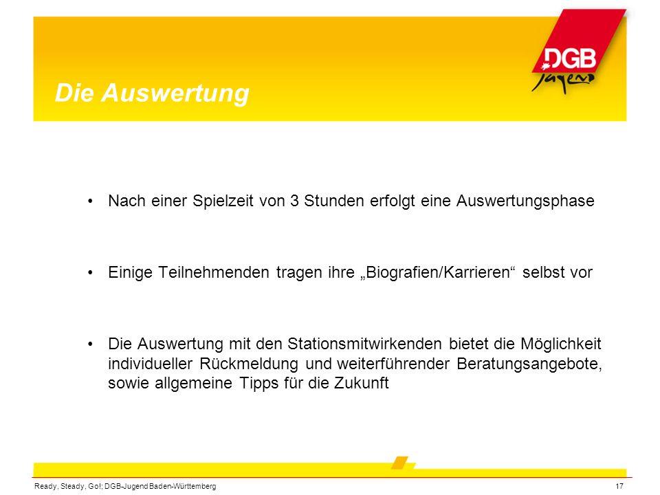 Ready, Steady, Go!; DGB-Jugend Baden-Württemberg17 Die Auswertung Nach einer Spielzeit von 3 Stunden erfolgt eine Auswertungsphase Einige Teilnehmende