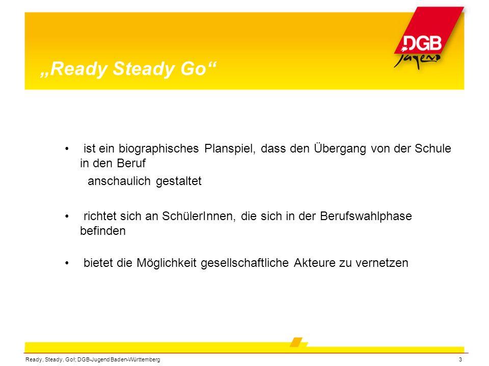 Ready, Steady, Go!; DGB-Jugend Baden-Württemberg3 Ready Steady Go ist ein biographisches Planspiel, dass den Übergang von der Schule in den Beruf ansc