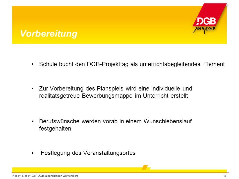 Ready, Steady, Go!; DGB-Jugend Baden-Württemberg8 Vorbereitung Schule bucht den DGB-Projekttag als unterrichtsbegleitendes Element Zur Vorbereitung de