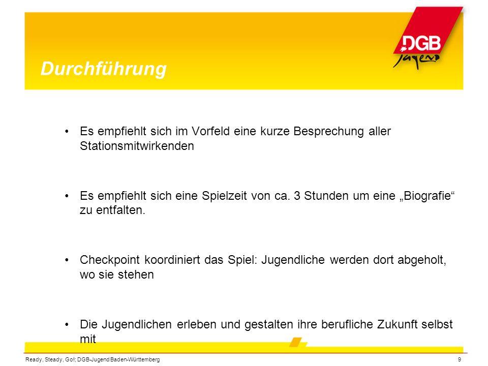 Ready, Steady, Go!; DGB-Jugend Baden-Württemberg9 Durchführung Es empfiehlt sich im Vorfeld eine kurze Besprechung aller Stationsmitwirkenden Es empfi