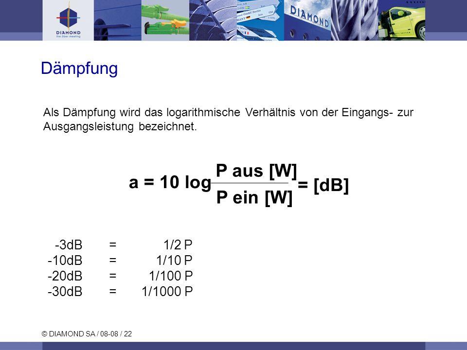 © DIAMOND SA / 08-08 / 22 Dämpfung a = 10 log P aus [W] P ein [W] = [dB] Als Dämpfung wird das logarithmische Verhältnis von der Eingangs- zur Ausgang