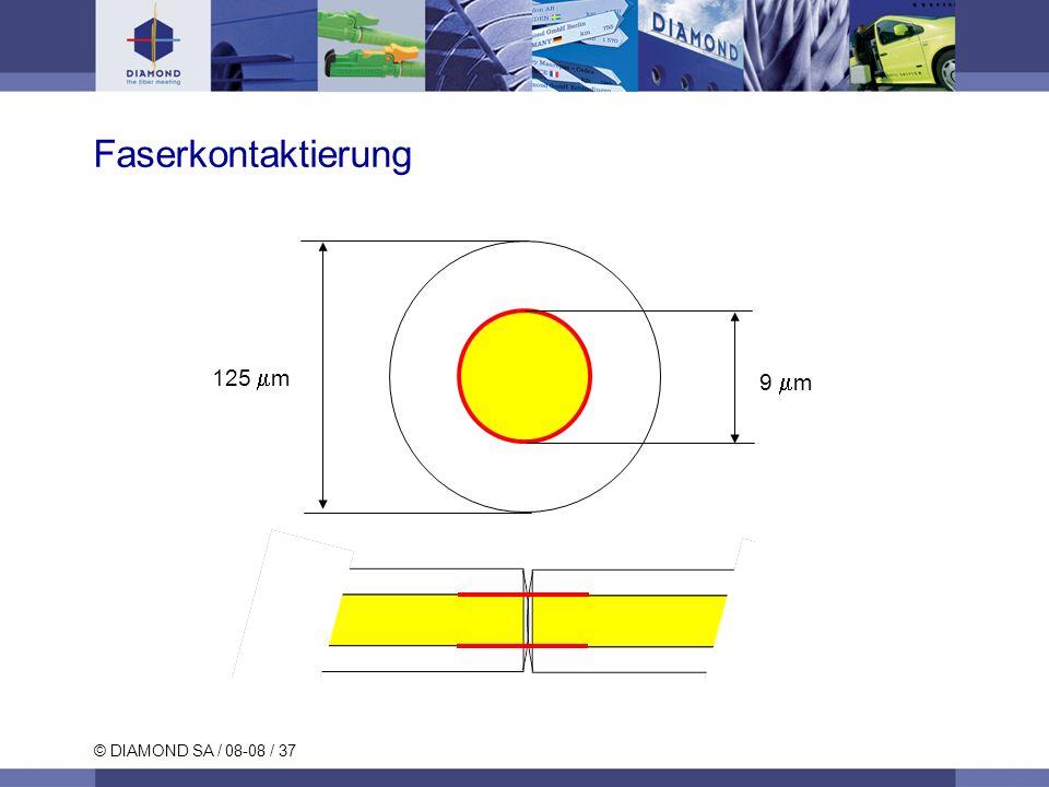 © DIAMOND SA / 08-08 / 37 Faserkontaktierung 9 m 125 m
