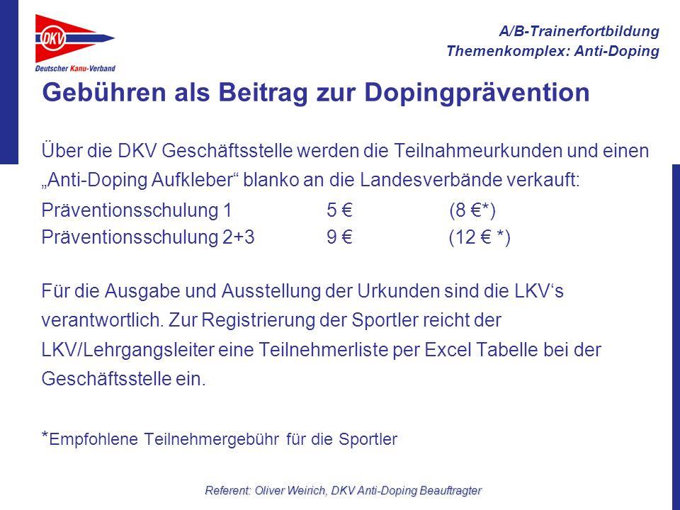 A/B-Trainerfortbildung Themenkomplex: Anti-Doping Referent: Oliver Weirich, DKV Anti-Doping Beauftragter Kritische Frage: 5 für ein Stück Papier...
