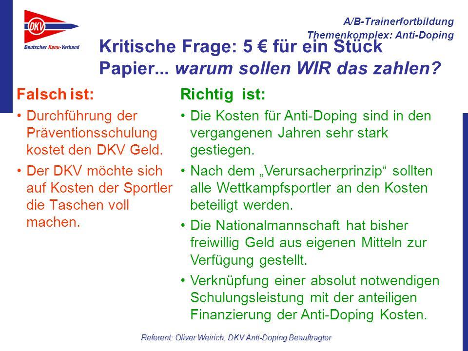 A/B-Trainerfortbildung Themenkomplex: Anti-Doping Referent: Oliver Weirich, DKV Anti-Doping Beauftragter Kritische Frage: 5 für ein Stück Papier... wa