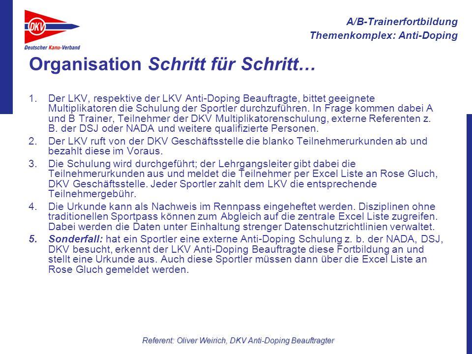 A/B-Trainerfortbildung Themenkomplex: Anti-Doping Referent: Oliver Weirich, DKV Anti-Doping Beauftragter Organisation Schritt für Schritt… 1.Der LKV,