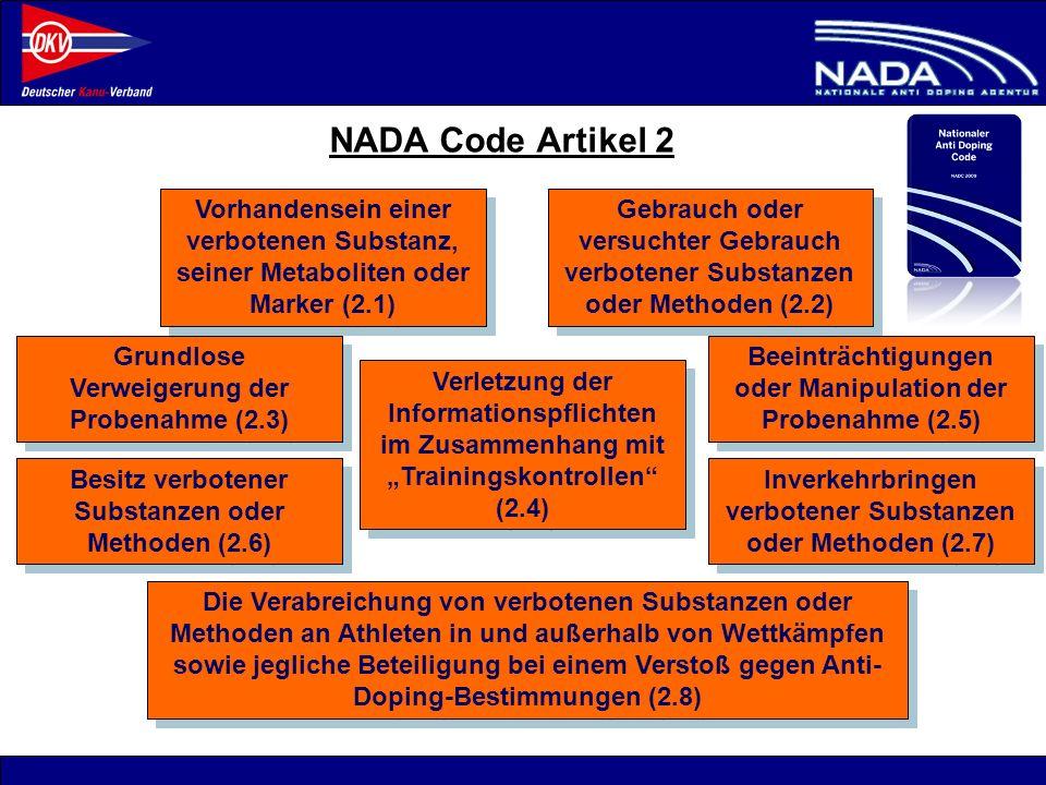 © NADA 2008 NADA Code Artikel 2 Vorhandensein einer verbotenen Substanz, seiner Metaboliten oder Marker (2.1) Gebrauch oder versuchter Gebrauch verbot