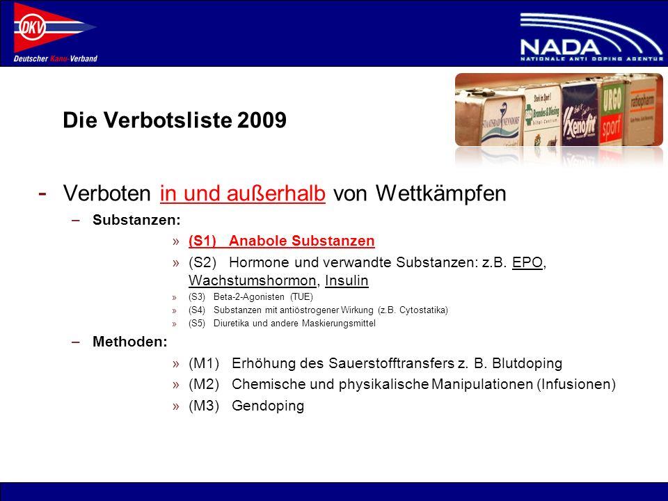 © NADA 2008 Die Verbotsliste 2009 - Verboten in und außerhalb von Wettkämpfen –Substanzen: »(S1) Anabole Substanzen »(S2) Hormone und verwandte Substa
