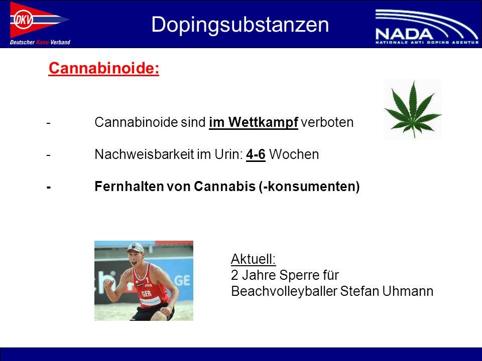 © NADA 2008 Cannabinoide: -Cannabinoide sind im Wettkampf verboten -Nachweisbarkeit im Urin: 4-6 Wochen -Fernhalten von Cannabis (-konsumenten) Doping