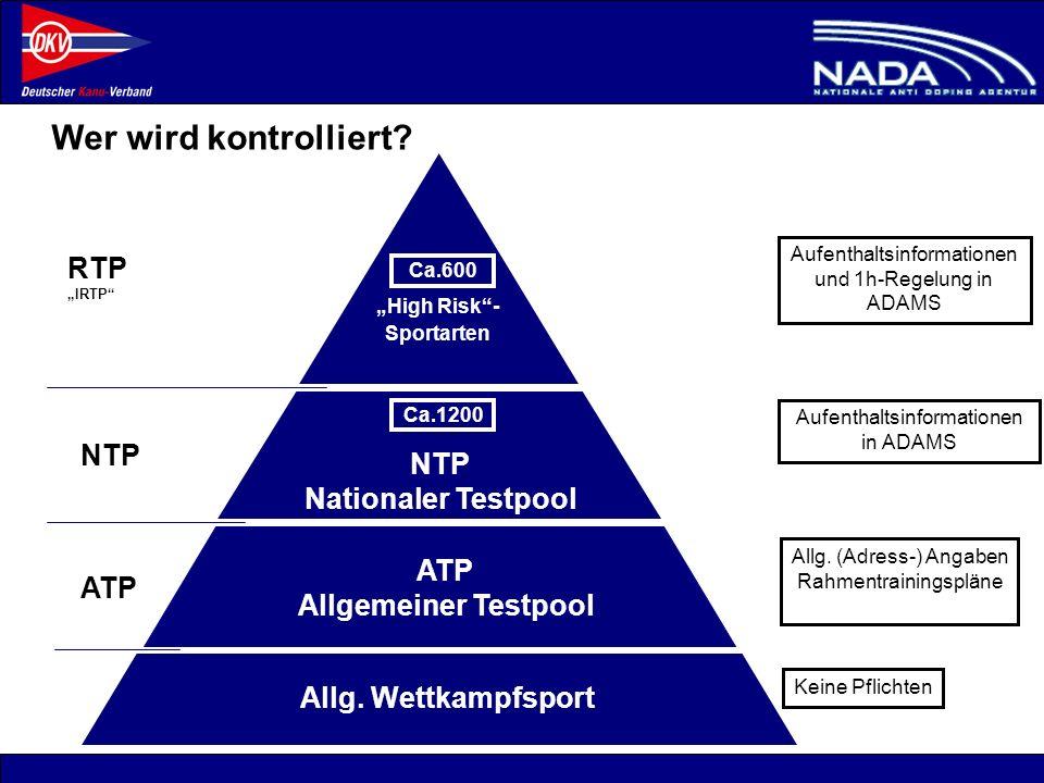 © NADA 2008 Wer wird kontrolliert? ATP Allgemeiner Testpool ATP NTP RTP IRTP NTP Nationaler Testpool Allg. (Adress-) Angaben Rahmentrainingspläne Aufe