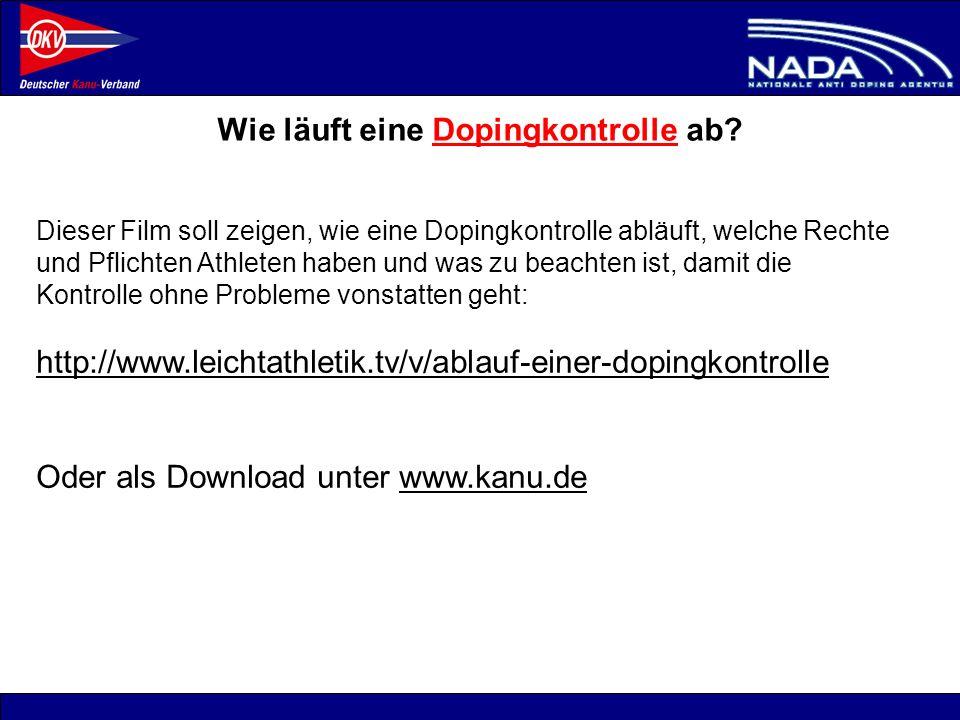 © NADA 2008 Wie läuft eine Dopingkontrolle ab? Dieser Film soll zeigen, wie eine Dopingkontrolle abläuft, welche Rechte und Pflichten Athleten haben u