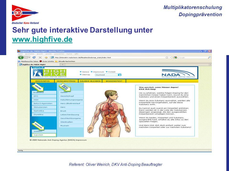 Multiplikatorenschulung Dopingprävention Referent: Oliver Weirich, DKV Anti-Doping Beauftragter Sehr gute interaktive Darstellung unter www.highfive.d