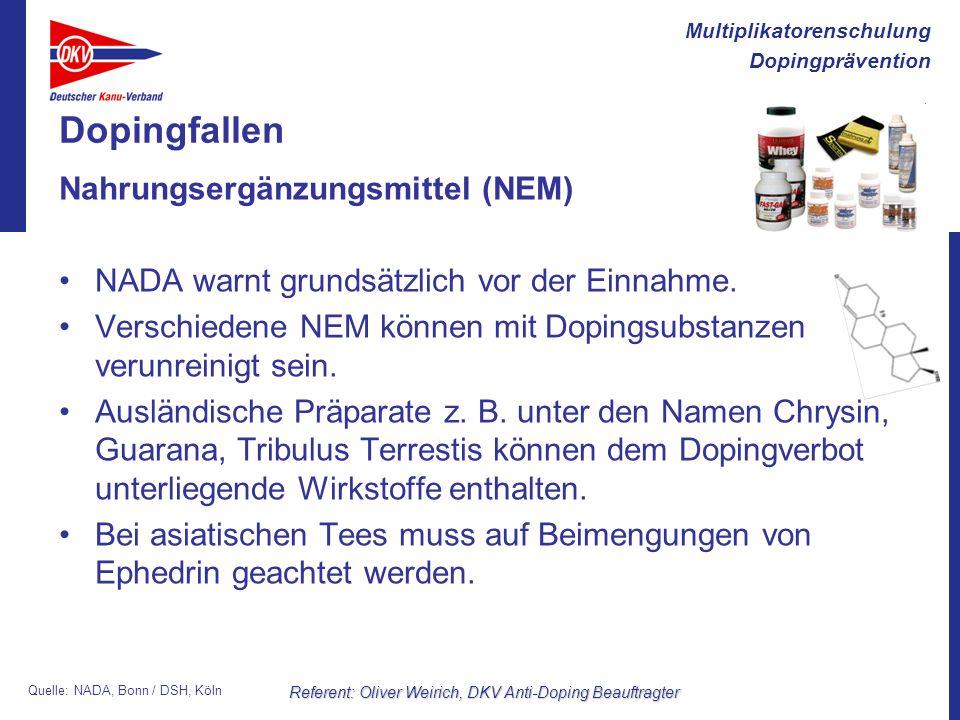 Multiplikatorenschulung Dopingprävention Referent: Oliver Weirich, DKV Anti-Doping Beauftragter Dopingfallen Nahrungsergänzungsmittel (NEM) NADA warnt