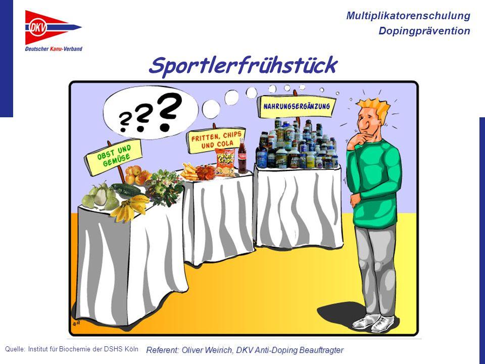 Multiplikatorenschulung Dopingprävention Referent: Oliver Weirich, DKV Anti-Doping Beauftragter Sportlerfrühstück Quelle: Institut für Biochemie der D