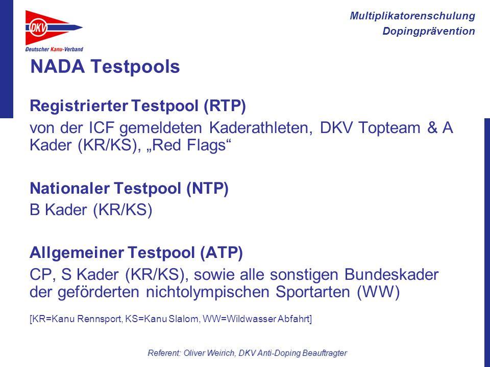 Multiplikatorenschulung Dopingprävention Referent: Oliver Weirich, DKV Anti-Doping Beauftragter NADA Testpools Registrierter Testpool (RTP) von der IC